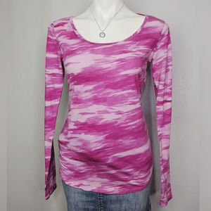 Under Armour Pink Camo Long Sleeve Thumb Hole Top